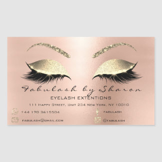 Adesivo Retangular Luxo magro do endereço do rosa do salão de beleza