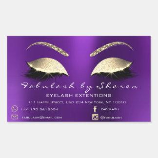Adesivo Retangular Luxo roxo do endereço do salão de beleza da