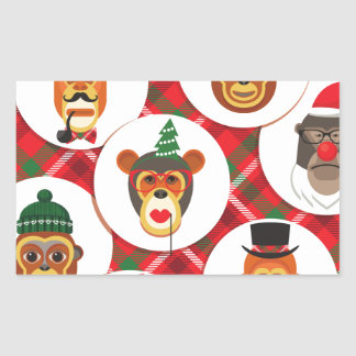 Adesivo Retangular macacos do hipster do Natal