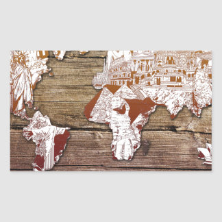 Adesivo Retangular madeira 11 do mapa do mundo