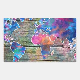 Adesivo Retangular madeira 1 do mapa do mundo