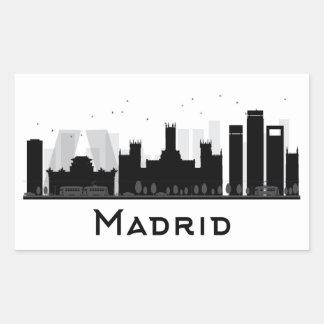 Adesivo Retangular Madrid, espanha skyline preta & branca de | da