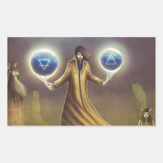 Adesivo Retangular mágica da fantasia do feiticeiro