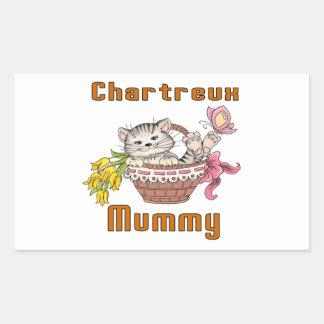 Adesivo Retangular Mamã do gato de Chartreux