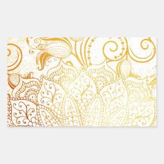 Adesivo Retangular Mandala - escova dourada