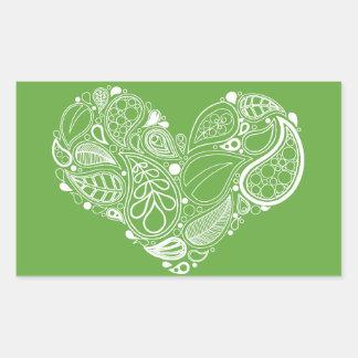 Adesivo Retangular Mandala verde do coração da folha