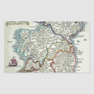 Adesivo Retangular Mapa de Ireland - mapa histórico de Eire Erin do