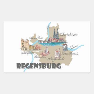 Adesivo Retangular Mapa de Regensburg Alemanha