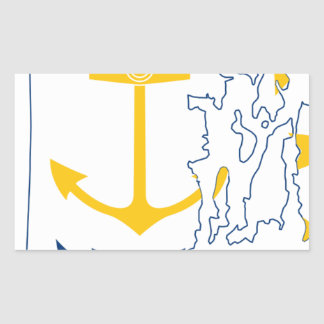 Adesivo Retangular Mapa de Rhode - ilha da bandeira