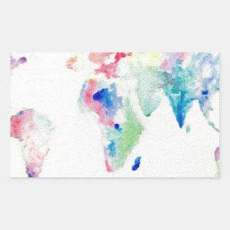 Adesivo Retangular mapa do mundo da cor de água