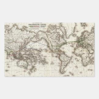 Adesivo Retangular Mapa do mundo do vintage que mostra as linhas de