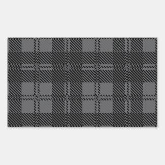 Adesivo Retangular Material cinzento de lãs do Tartan da verificação