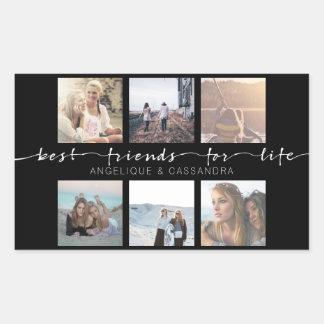 Adesivo Retangular Melhores amigos para a tipografia da foto de