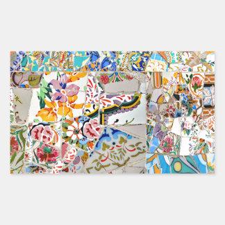Adesivo Retangular Memórias. Parque Güell. Grande mosaico. Parte 1.