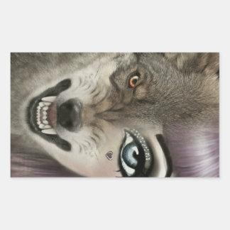 Adesivo Retangular Menina do lobo dos desenhos animados