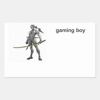 Adesivo Retangular menino do jogo