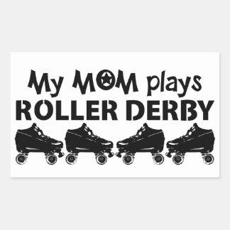 Adesivo Retangular Minha mamã joga o rolo Derby, patinagem de rolo