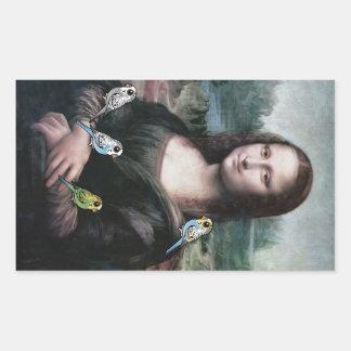 Adesivo Retangular Mona Lisa & Budgies