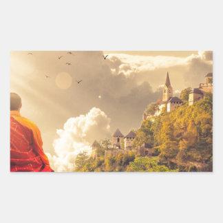 Adesivo Retangular Monge Meditating antes do grande templo