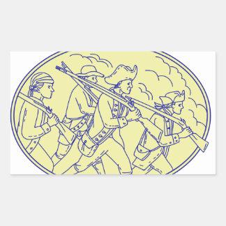 Adesivo Retangular Mono oval de marcha dos soldados revolucionários