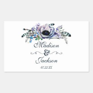 Adesivo Retangular Monograma floral chique do casamento da hortelã &