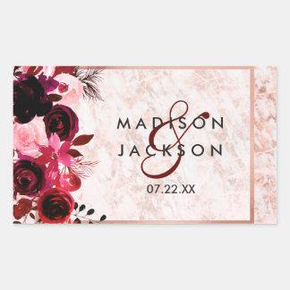 Adesivo Retangular Monograma floral & cor-de-rosa de Borgonha do ouro