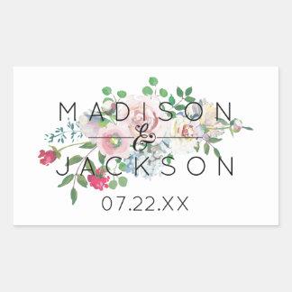 Adesivo Retangular Monograma floral de cora do casamento da aguarela