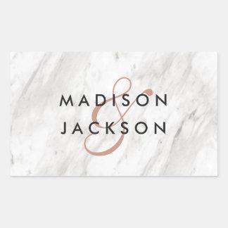 Adesivo Retangular Monograma moderno do casamento do mármore branco &