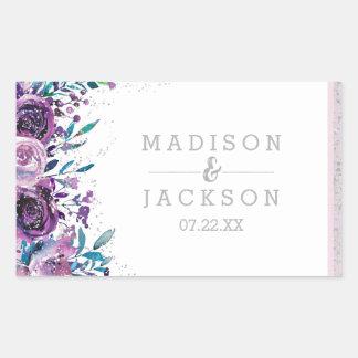 Adesivo Retangular Monograma roxo chique do casamento floral & de