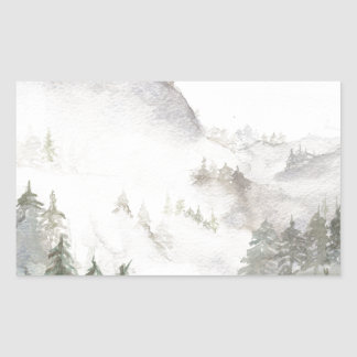Adesivo Retangular Montanhas enevoadas