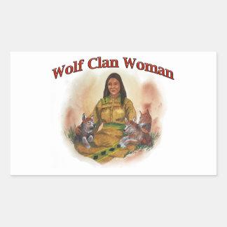 Adesivo Retangular Mulher do clã do lobo