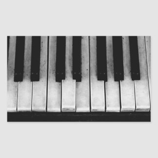 Adesivo Retangular Música velha do instrumento do teclado de piano de