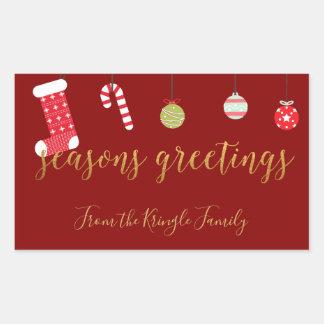 Adesivo Retangular Natal bonito do ouro vermelho dos cumprimentos da