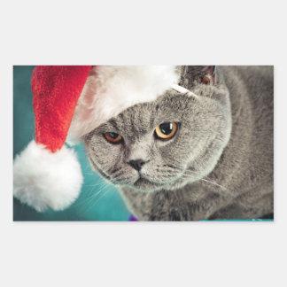 Adesivo Retangular Natal cinzento do gato - gato do Natal - gato do