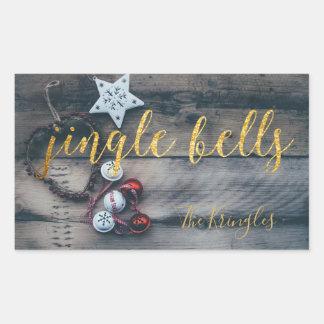 Adesivo Retangular Natal rústico do ouro de Bels de tinir