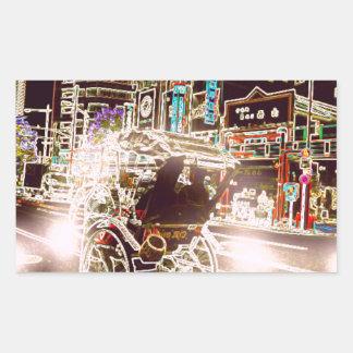 Adesivo Retangular Noite do rickshaw de Tokyo