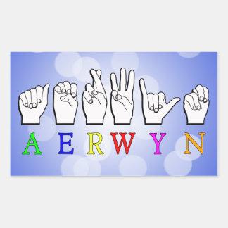 ADESIVO RETANGULAR NOME SURDO DO SINAL DE AERWYN FINGERSPELLED ASL