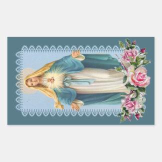 Adesivo Retangular Nossa senhora de rosas do rosa da benevolência