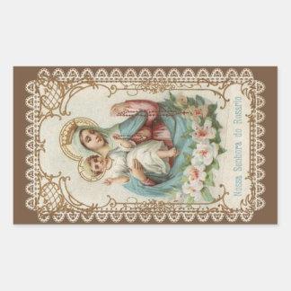 Adesivo Retangular Nossa senhora do rosário com o bebê Jesus