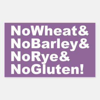 Adesivo Retangular NoWheat&NoBarley&NoRye&NoGluten! (branco)
