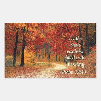 Adesivo Retangular O 72:19 do salmo deixou a terra ser enchido com