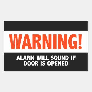 Adesivo Retangular O alarme de advertência soará se a porta é aberta