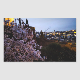 Adesivo Retangular O Albayzin de Granada visto da amêndoa do Alhambra