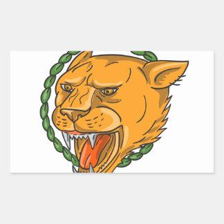 Adesivo Retangular O anel da rosnadura da leoa sae do tatuagem