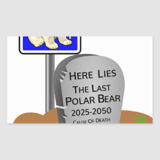 Adesivo Retangular O aquecimento global, RASGA o urso polar 2050