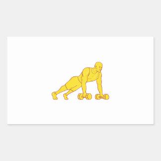Adesivo Retangular O atleta da malhação levanta o desenho do Dumbbell