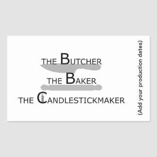 Adesivo Retangular O carniceiro o padeiro o Candlestickmaker