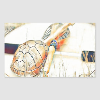Adesivo Retangular O clã da tartaruga chocalha e rufa