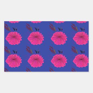Adesivo Retangular O design floresce o rosa azul