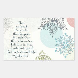 Adesivo Retangular O deus do 3:16 de John amou assim o mundo, verso
